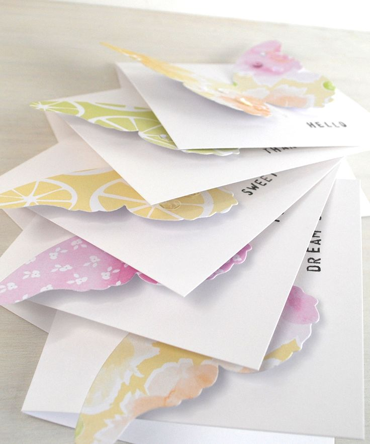 Pretty Butterfly Notecards made with 'Pink Grapefruit' printable Papers.