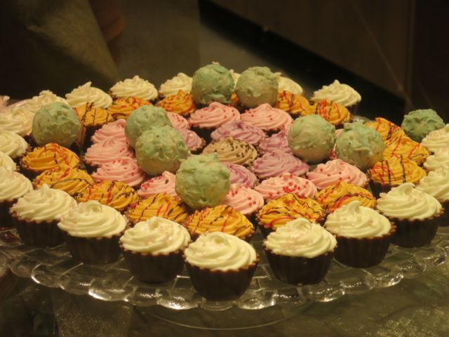 A tempting display of miniature cupcakes found in a chocolate shop in Athens, Greece.