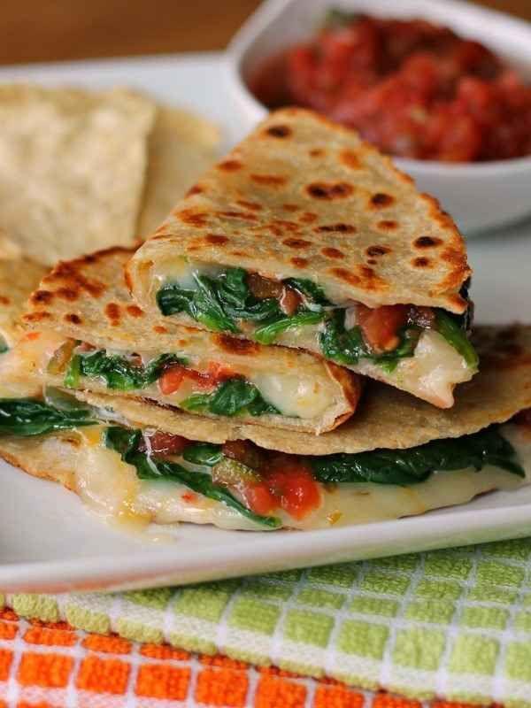 Spicy Spinach Quesadillas