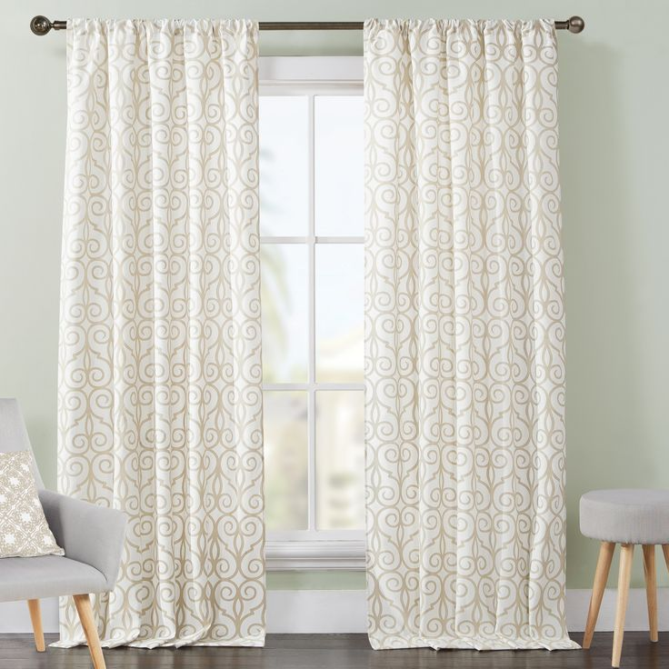 Julianna Scrolling Rod Pocket Curtain Panel Pair