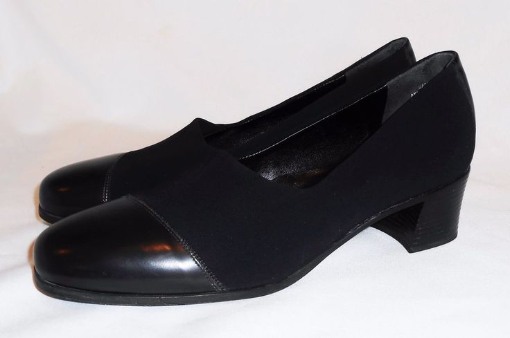 Munro American 9 M Pumps Black Heels Stretch Fabric Leather Cap Toe Shoes #Munro…