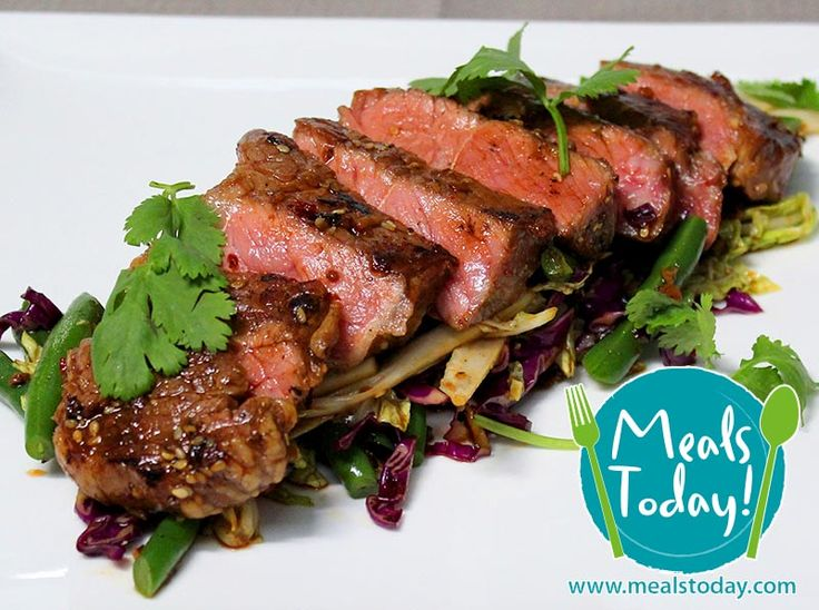 Chilli Sesame Beef with Slaw Salad  Available to order now, for delivery on Tue 30th September  www.mealstoday.com    #mealstoday