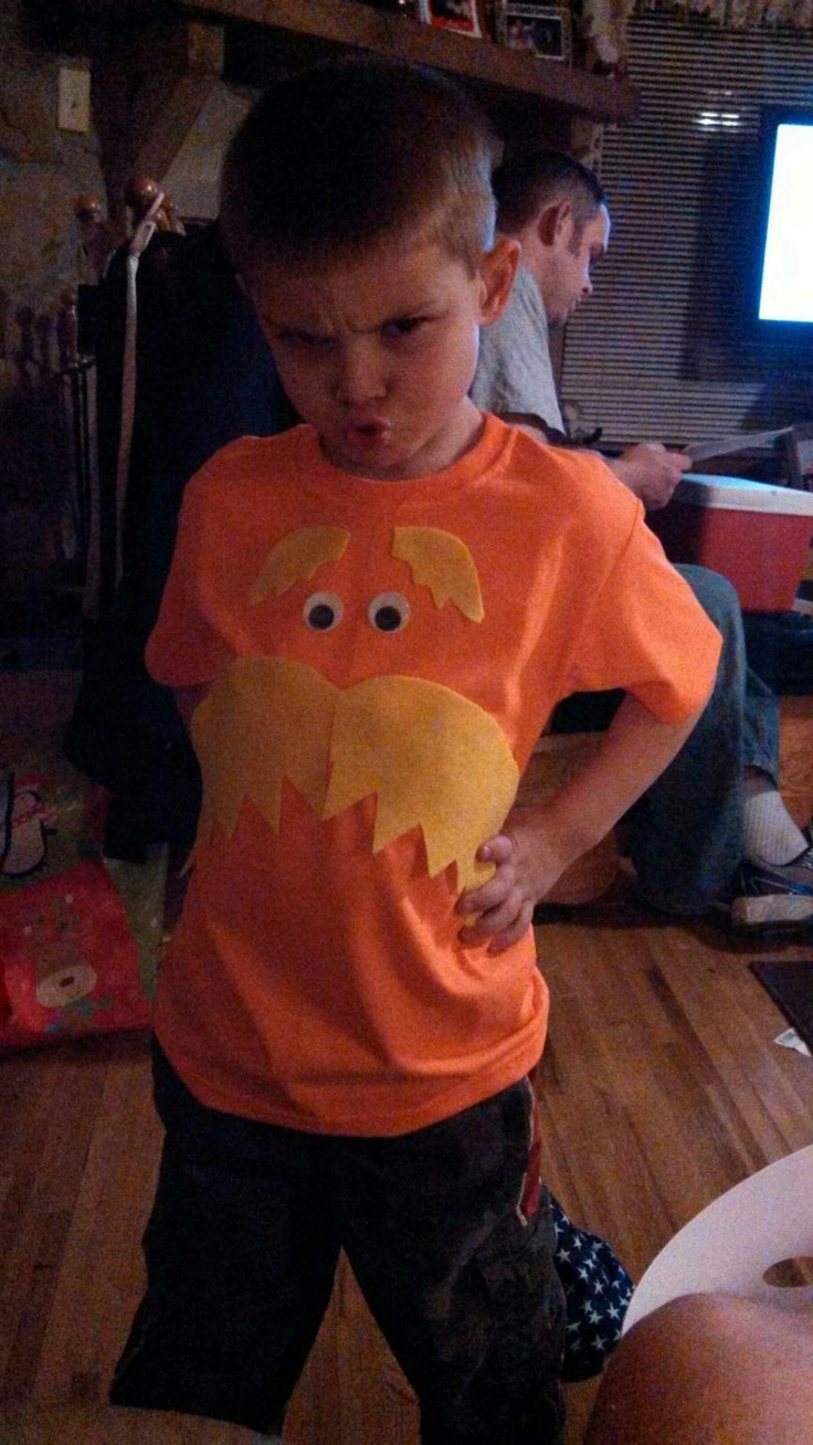 Homemade Lorax shirt I made my son for Read Across America Day!  I love how he is rocking it!  Happy birthday Dr. Seuss!