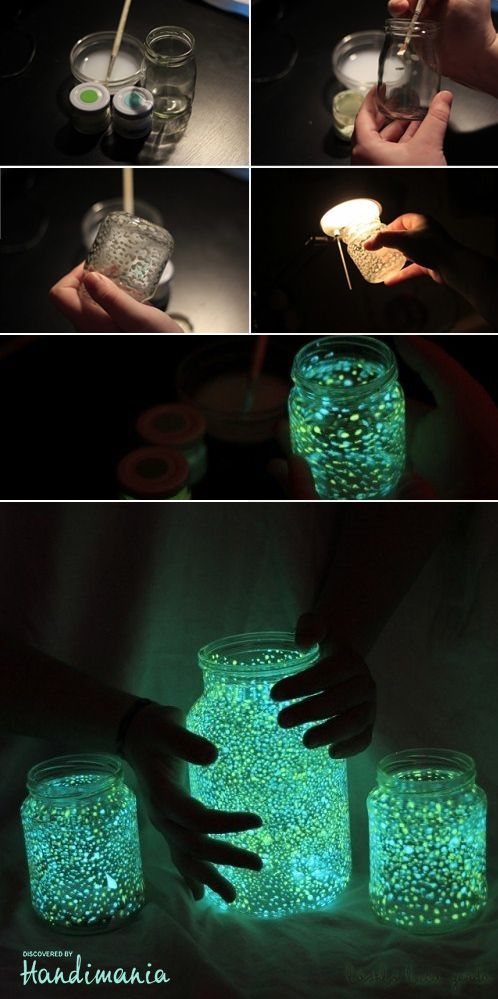 Jars glowing in the dark. Dancing with these would rock