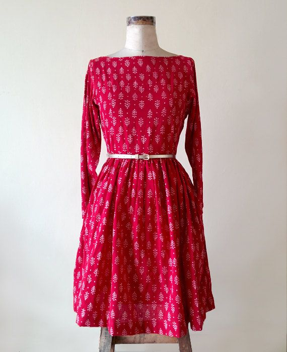 Red and White Hand Block Printed Dress by MograDesigns