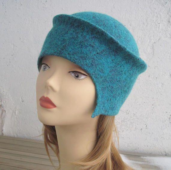 Women's felted hat Sea green hat Aquamarine hat Toque hat
