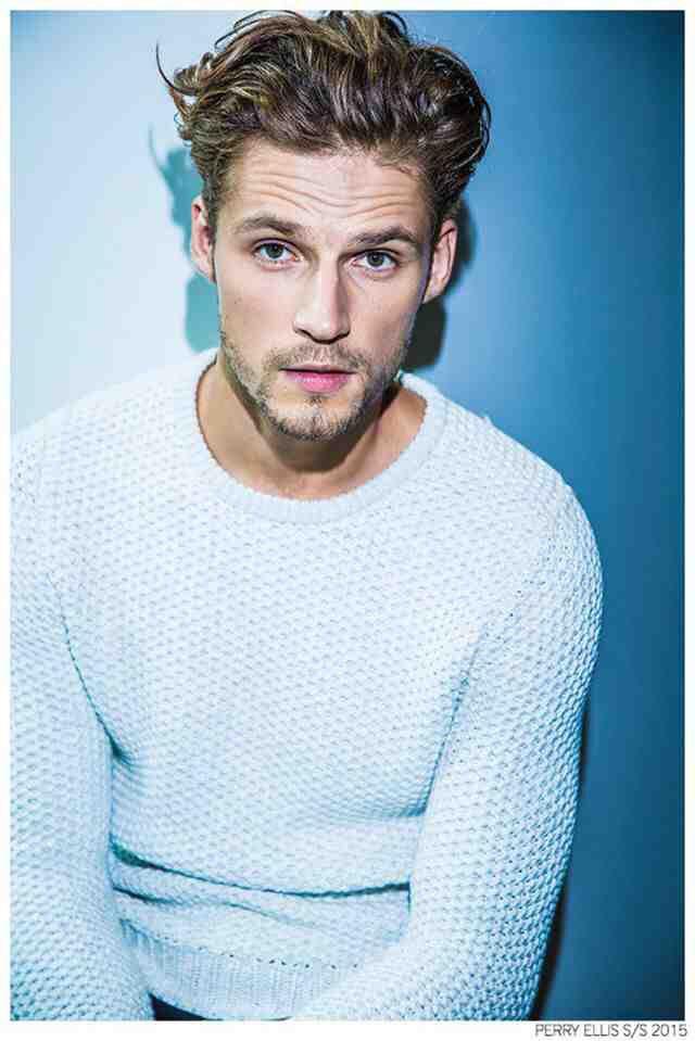hair + white sweater /// Mikus Lasmanis (model) in Perry Ellis F/W 2014-2015