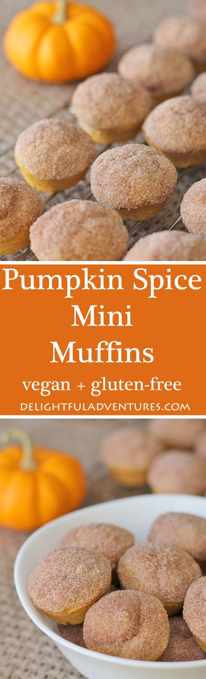 These vegan gluten free pumpkin spice mini muffins are the perfect treat for fall—or any other time of year. Enjoy them with a latte or on their own! via @delighfuladv