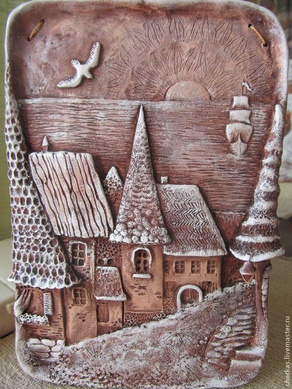 Купить Сказочный город. - коричневый, город, сказочный, панно настенное, керамика ручной работы, графика