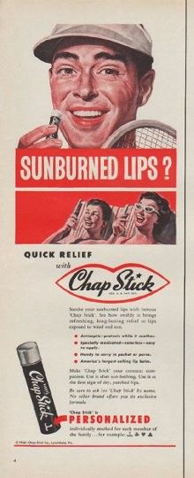 """Description: 1954 CHAP STICK vintage print advertisement """"Sunburned Lips?"""" -- Soothe your sunburned lips with famous Chap Stick . See how quickly it brings refreshing, long-lasting relief to lips exposed to wind and sun. -- Size: The dimensions of the half-page advertisement are approximately 5.5 inches x 14 inches (14 cm x 36 cm). Condition: This original vintage half-page advertisement is in Very Good Condition unless otherwise noted."""