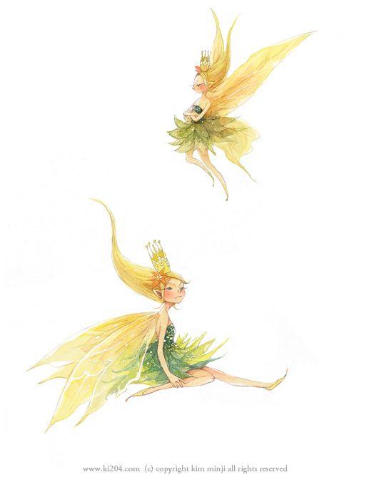 "Kim Min Ji, ""Peter Pan"" illustration.  Tinkerbell. :D"