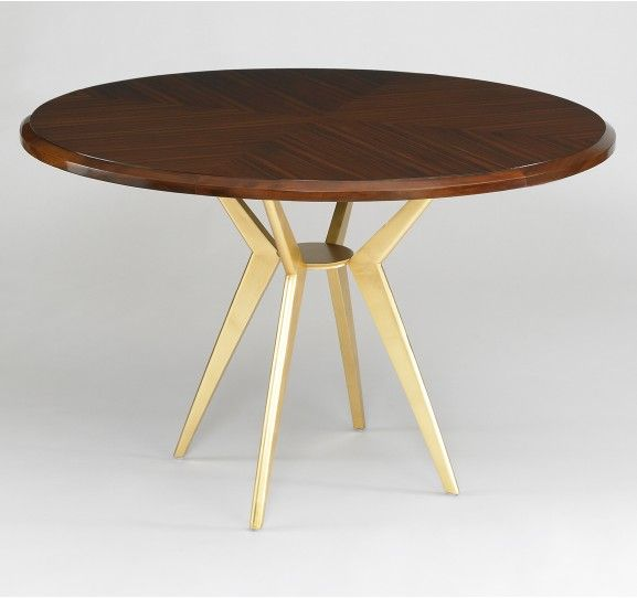 Axel Round Dining Table - mid century style with gold leaf iron base.