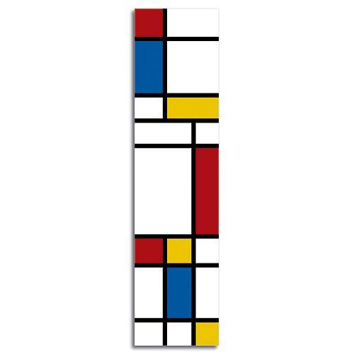 MARCALIBROS PLÁSTICO ART-MON Si todavía te gusta leer los libros en su formato original, necesitas un marcalibros para seguir tus lecturas.  Composición de colores primarios, inspirada en la obra del pintor Piet Mondrian  Polipropileno (plástico) impresión offset en cuatricromía