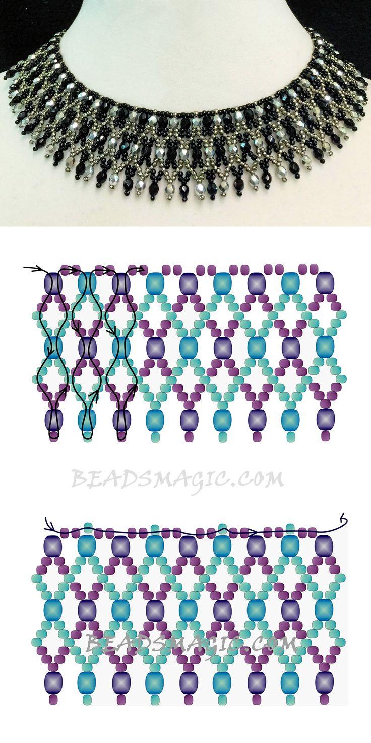 Free pattern for necklace Elaine 2 színű 11/0 és 2 színű 4 mm cseh csiszolt