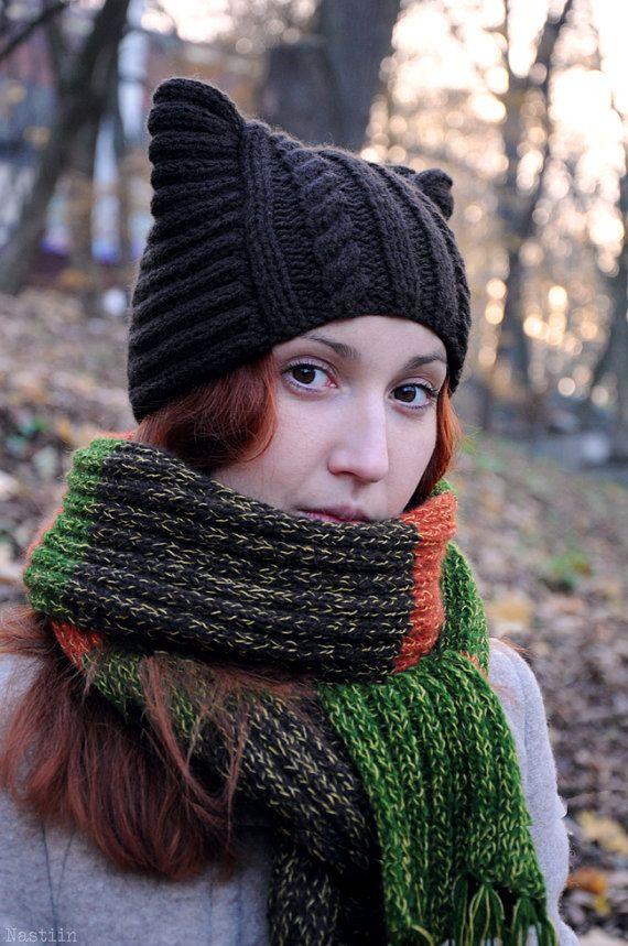 Black knit cat ears hat Womens knit winter hats Black knit beanie Hand knit hat…
