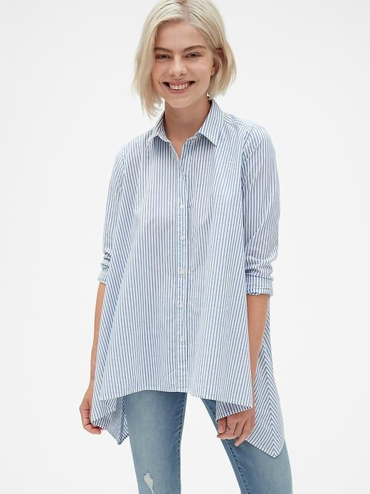 b0255ff3c Gap Womens Stripe Handkerchief Hem Shirt In Poplin Blue & White Stripe