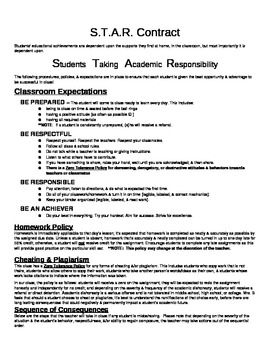 Classroom Contract! Simple and clear! Uses the acronym S.T.A.R. = Students Taking Academic Responsibility. PERFECT for a classroom contract!