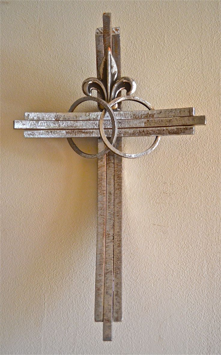 A wedding cross for a New Orleans couple, made from recycled industrial iron. To see more of my crosses, visit http://www.etsy.com/shop/CrossesByCatherine and to read my testimony, visit crossesbycatherine.com