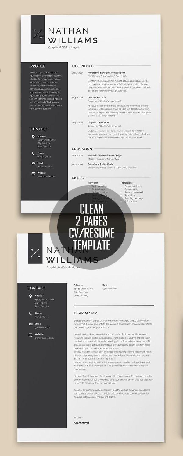 Nettoyer Le Modele De Cv De 2 Pages Resumedesign Modele De Cv Cv Resume Template Infographic Resume Resume Design Template