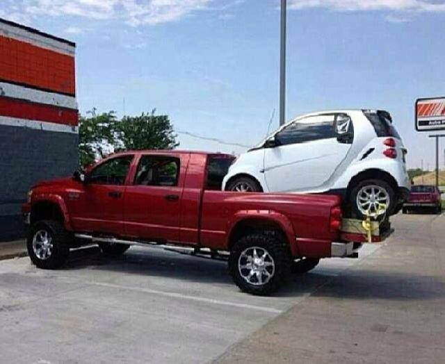 Truck And Smart Car Truckin Trucks Tow Dodge