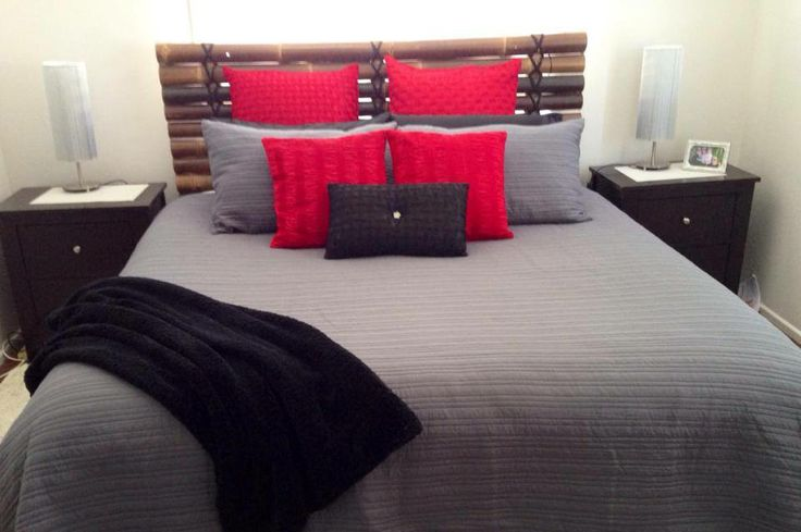 Here we have Taya Charcoal with red and Black.  Same bed different accessories.  Again image thanks to Mandy Hudson.  Linen all from Lorraine Lea Linen