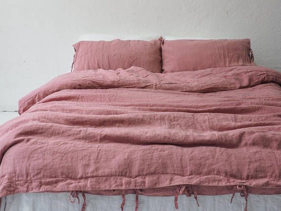 Stonewashed Linen Bedding 1 Duvet Cover Dusty Pink Color Duvet Cover King Queen Size Duvet Duvet Bedding Sets Bed Linen Sets Pink Duvet Cover
