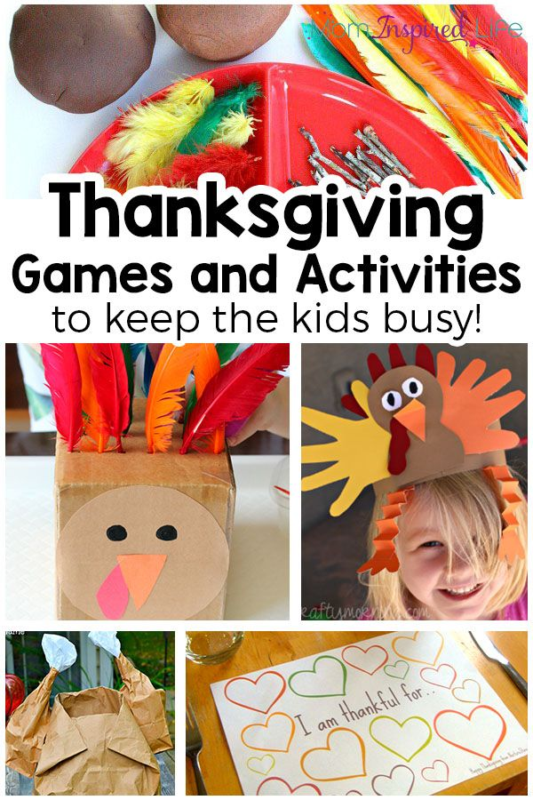 Thanksgiving games and activities for young kids! Printables, games, crafts and activities to keep the kids busy.