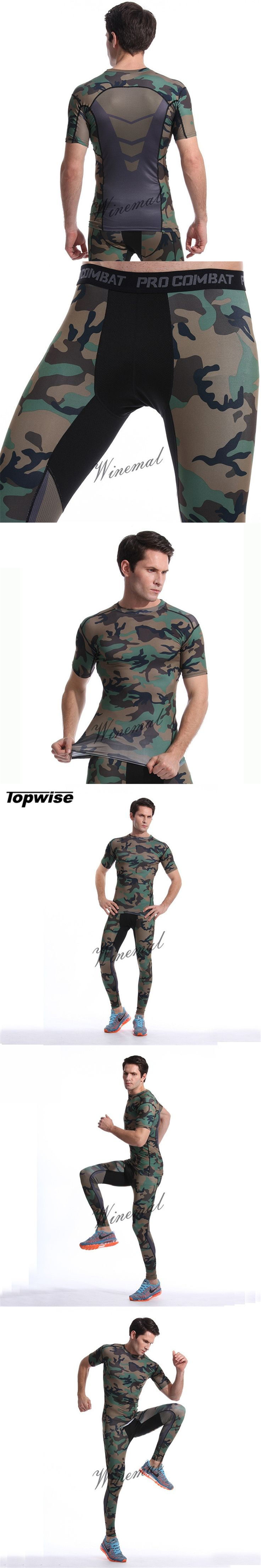 Men Camouflage Running Set Compression Suit T Shirt Fitness Leggings For Running Gym Training Sport Tights Sets Fitness Wear