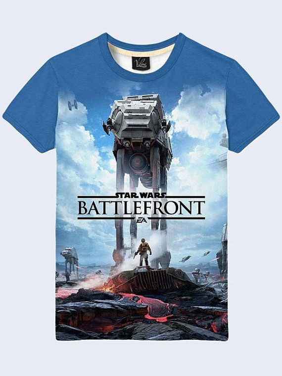 Mens male youthful 3D print image tshirt Battlefront Star by Vilno