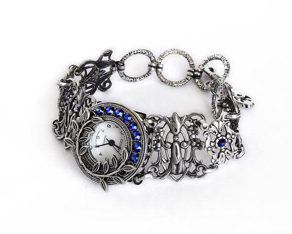 Silver watch bracelet filigree ladies wrist watch bracelet Gothic Victorian Blue Swarovski Jewelry unique women watches silver floral