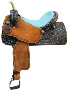 Check out the deal on Showman Argentina Cow Leather Barrel Saddle With Teal Painted Inlay at Chicks Discount Saddlery