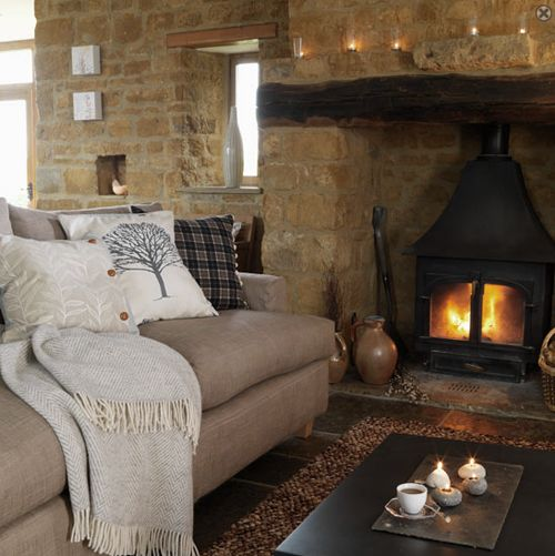 fireplace and texture on pillowsWood Burning Stoves, Cozy Room, Ideas, Stones Fireplaces, Living Rooms, Living Room Design, Country Living Room, Stones Wall, Livingroom