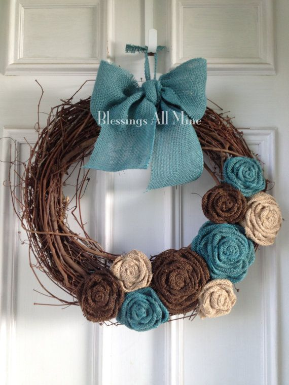 18 inch Grapevine Wreath, Burlap Brown, Neutral, & Turquoise Teal Flowers, Turquoise Bow/Hanger, Spring Summer Fall/Autumn Winter Wreath on Etsy, $41.00