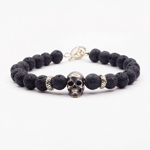 """Men's Lava Stone Beaded Skull Bracelet with Sterling Silver Charms and Clasp 6.5""""-8.5"""""""