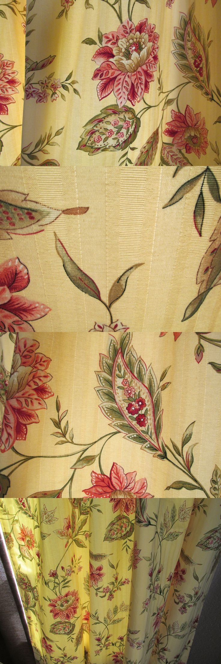 Curtains Drapes and Valances 45515: New Custom Lined Pole Drapes 2 Panels 54 X 84 Floral Yellow Green Crimson -> BUY IT NOW ONLY: $139 on eBay!