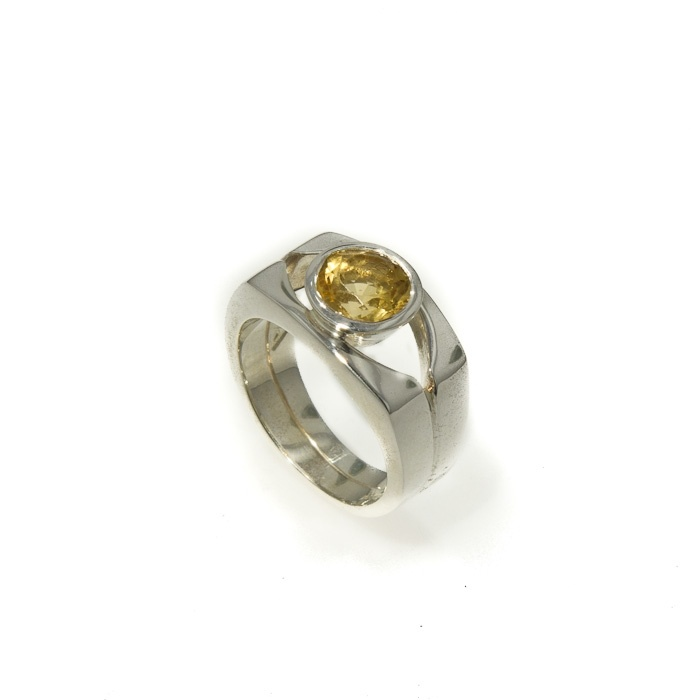 Jens Hansen - Sterling silver ring with a round Golden Citrine. Approx price $399