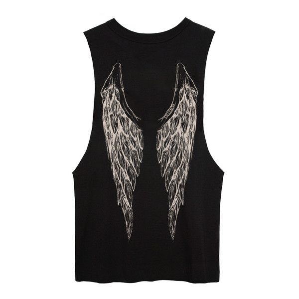 Black Muscle Tee with off-white wings print found on Polyvore