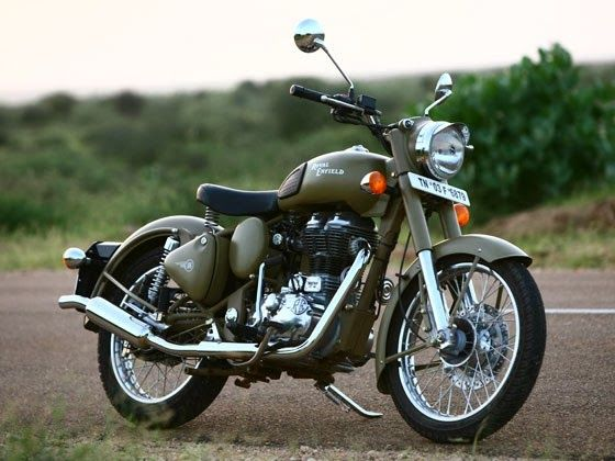 The Classic Battle Green comes to you with a paint scheme reminiscent of the War era, a time when Royal Enfield motorcycles proved their capabilitities and battle worthiness by impeccable service to soldiers. - Google Search