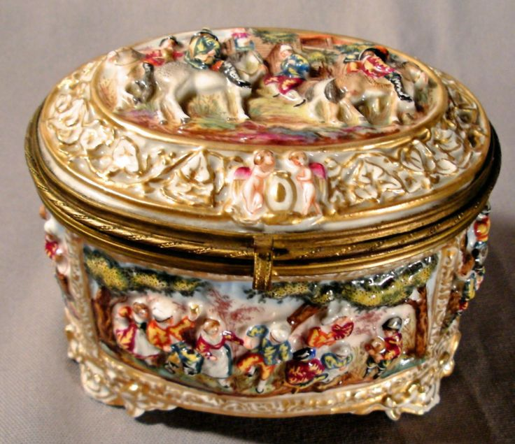 Hand Painted Porcelain Dresser Box Made In Italy