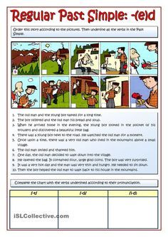 The Old Man story. Past simple practice with pronunciation of the -ed ending…