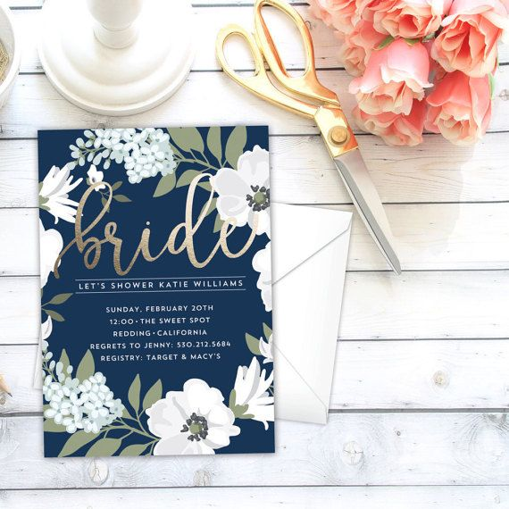 Bridal Shower Invitation, Golden Bride, Faux Foiling, Navy Blue, Kraft, Floral…