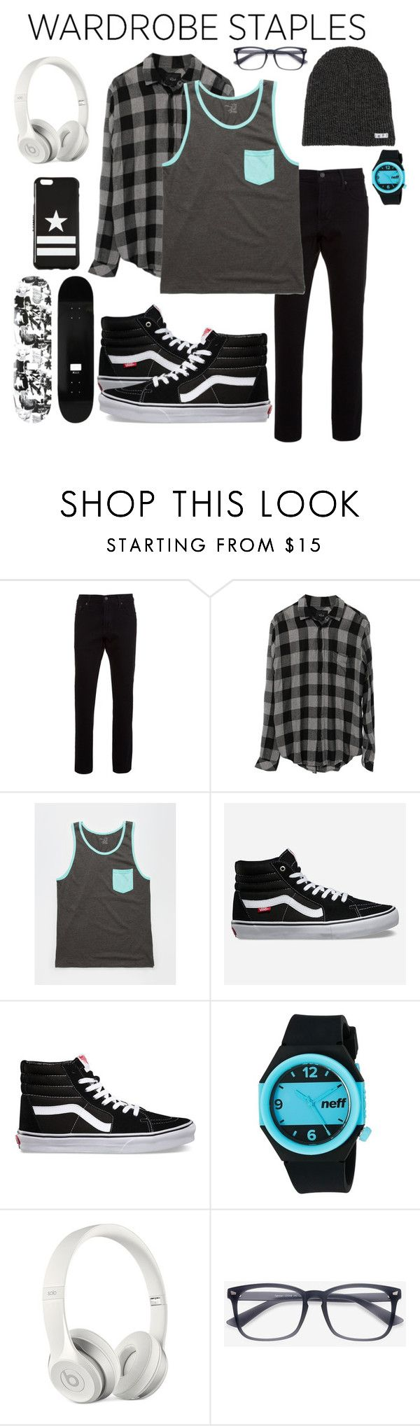 """""""Mad for Plaid: Skater boy"""" by tris1316 ❤ liked on Polyvore featuring WeSC, Levi's, Rails, Blue Crown, Vans, Neff, Beats by Dr. Dre, Givenchy, men's fashion and menswear"""
