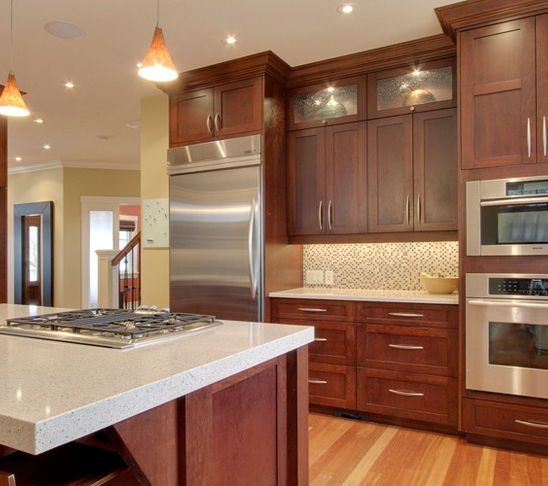 Dark And Light Kitchen Cabinets Together: Cherry Wood Cabinets With Stainless And Light Countertop