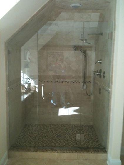SMALL NARROW BATH WITH SLANTED CEILING Frameless Shower