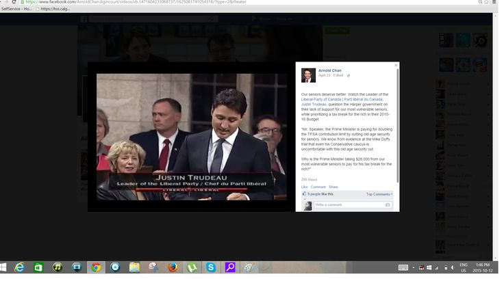 Arnold Chan Lib - His Facebook Post promoting Liberal Party in Justin Trudeau's speech.