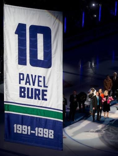 Pavel Bure's # 10 number has been retired by the Canucks...