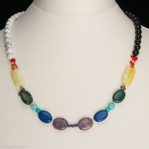 "Rainbow necklace in red, orange, yellow, green, blue, violet - ""Rainbow"" by Zayah"