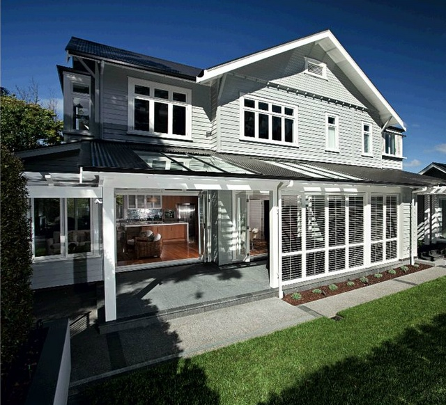 grey weatherboard, white pergola