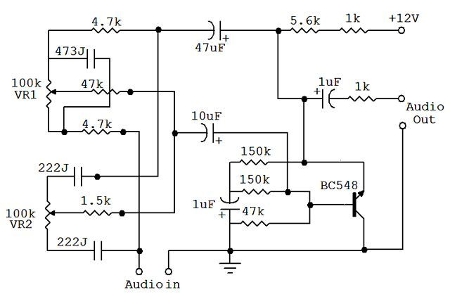 Bass And Treble Controller Audio Equalizer Circuit Electronicsaudio Simple Circuit Circuit Audio Amplifier