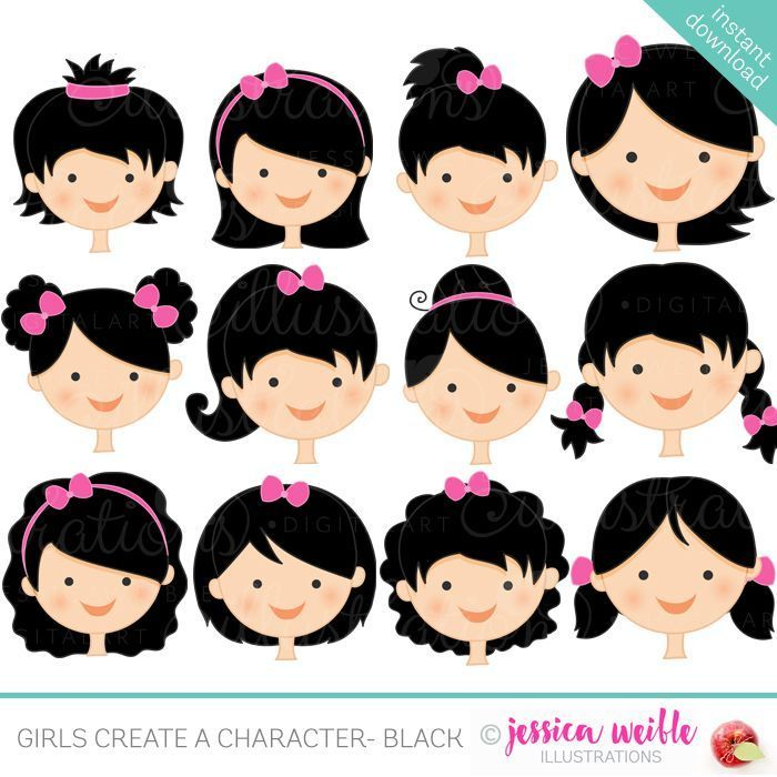 Girls Character Faces Black